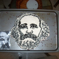 Karl Marx Cake This cake was made for my friend who is a socialist for his birthday. Its the first cake I ever made that included decorating. Its red...