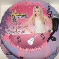 Hannah Montana Edible photo top with flower paste decoration