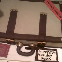 Old Leather Suitcase Chocolate guiness cake frosted with chocolate buttercream and covered in fondant. trimmings are chocolate flavoured modelling paste....