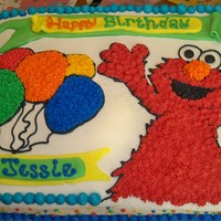 Elmo Cake Marble Cake with buttercream icing.