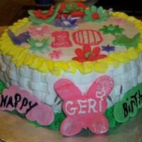 Butterfly Garden-Basketweave Cake This wasn't the first time I made a cake but it WAS the first time I was asked to make a cake for a coworker to give to his daughter...