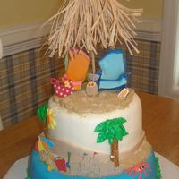 Beach Theme Cake Buttercream with fondant accents. The beach chairs on top have a fondant towel on them, and some of the other accents are scrapbooking...