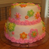 Flowery Mod Cake Buttercream with fondant flower accents