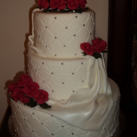 "Roses & Romance   Wedding cake ""dummies"" decorated for a cake decorating contest at our local A C Moore. I won ""Customer Choice"""