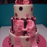 Bridal Shower Cake 3 tiers.. Pink Cake Box knockoff!