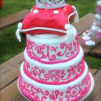 Quinceanera Cake All Edible. Royal Icing tiara. Lesson learned. Use Royal icing when piping on fondant. swirls were flaking off so i had to redo them when i...