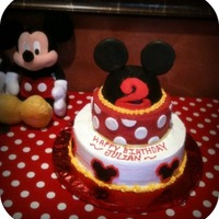 Mickey Theme Cake mickey cake.. ears are made out of chocolate.
