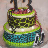 Sweet 13! animal print cake in neon colors, kit is sold at michaels its made by duff..
