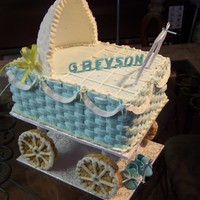 My Carriage Cake Made of butter cake with buttercream frosting and royal icing top for carriage and rice cakes for wheels.