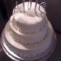 The Silver Bead Wedding Silver beads decorations and buttercream cake
