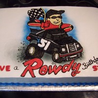 Rowdy This man worked for this team so his wife had him a custom cake made with his favorite driver! All buttercream icing and chocolate cake!I...