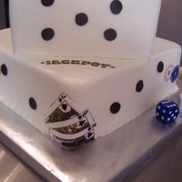 Dice Wedding Cake Dice wedding cake was strawberry & butter cake with buttercream frosting. Couple was married in Las Vegas