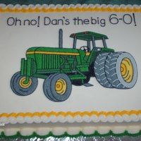 Tractor Cake Cake Frosted and decorated in Buttercream.