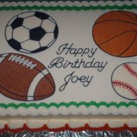 Sports Cake   Cake frosted and decorated in buttercream.