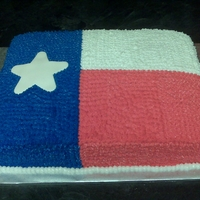 Texas Flag French vanilla cake with buttercream frosting.