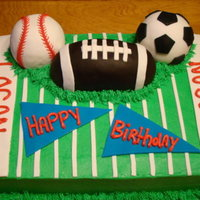 Sports Cake French vanilla cake with bc. Fondant accents and Rice Krispie sports balls covered in fondant. TFL!