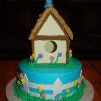 Birdhouse Cake Coconut cake with coconut bc frosting. Birdhouse made from gumpast. Made this for my grandmother's birthday.