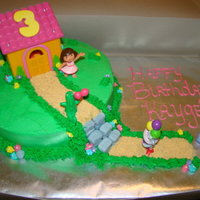 Dora Cake This was for my niece. Dora's suprise party. White cake with spinkles inside and bc. Bought the house to go on top. TFL!
