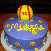 Softball Cake Red velvet cake with bc frosting. Lg softball is rice krispie treat covered in fondant.