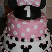 Minnie Mouse This is my second ever fondant cake, done for my nieces first birthday. This cake was of course inspired by several of the same design here...