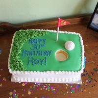 Golf Themed 30Th Birthday Cake Butter cake with Pistachio cream, butter cream icing with fondant top.