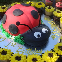 Ladybug Cake With Sunflower And Ladybug Cupcakes This was my first time using fondant, after working hard to get the deep red and black colors (could not find colored fondant in my area) I...