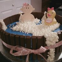 "Bath Tub Baby Shower Cake 12"" round cake covered in buttercream. Kit kats around the side...tied with a bow. The bubble are just buttercream frosting sprinkled..."