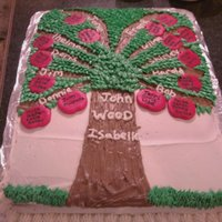 Family Tree Cake made this for my husbands family reunion...buttercream frosting with fondant apples