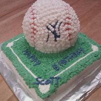 Yankees Birthday Cake Made this for my brother-in-law...just a square cake and the 3D ball pan