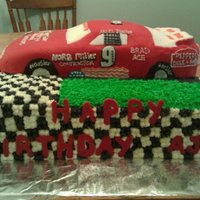 Race Car Cake Made this for a friends husband, the car is decorated to look like his race car. The race car is rice crispie treats frosted with...