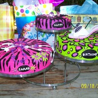 "Animal Prints ""girly"" Birthday Cakes Made these for my daughters 10th birthday...buttercream frosting with fondant prints"