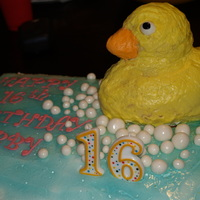 Ducky Cake Ducky cake for my daughter's Sweet Sixteen. Not thrilled how it turned out but it was my first one and she LOVED it so that's all...
