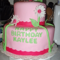Pink Daisie Cake Homemade MMF. Daisies are fondant and stems are fondant too. For 2 year old girls birthday.