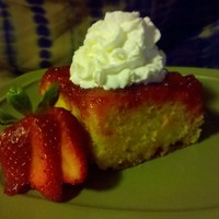 Strawberry Upside-Down Cake   I was tired of the same old dessert to take to a family get together, so I pulled this recipe out of my moms recipe file. YUMMY!!