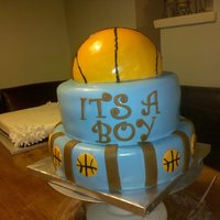 Basketball Baby Shower This was made for a friends baby shower. The cake is a white cake with buttercream and fresh strawberry filling. The outside is all...