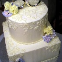 50Th Anniversary Cake   Buttercream cake with sugar carnations and pansy flowers.