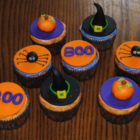 Halloween Cupcakes! I made these for my son's Halloween party at daycare,,,soo fun to make! Everything is MMF with buttercream underneath to stick it on...