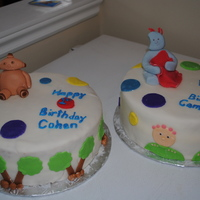 In The Night Garden Cakes WASC with MMF, cookies and cream filling. Cakes made for brothers celebrating their birthdays together.