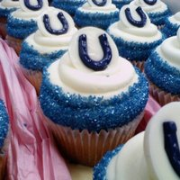 Colts Cupcakes Candy Melts and blue sugar.
