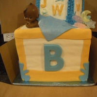 Abc Blocks Baby Shower Cake  This was my first time using a dummy cake to give the bottom block height. It is a 10in' white cake buttercream frosting covered in...