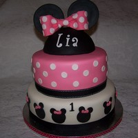 Minnie Mouse!   Cake made for my grandaughters 1ST birthday made to match her ear/bow headband!