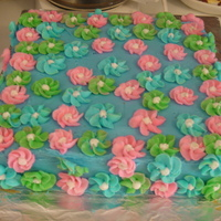 Flower Cake   blue Buttercream with blue green and pink flowers