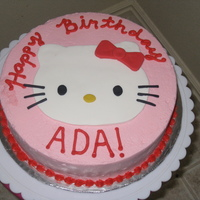 Hello Kitty! This was a last minute birthday cake for my friends daughter. Iced in buttercream, kitty in fondant.