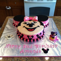 Minnie Mouse  My daughter Amanda's 2nd Birthday cake - The 3rd cake I have ever made.The top is fondant and the sides are buttercream - all the...