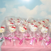 Hello Kitty Cake Pops   These are Hello Kitty cake pops - chocolate fudge brownie cake inside with white wilton candy melts outside. Fun to make!
