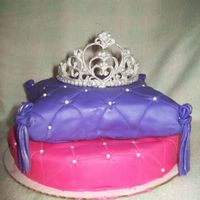 Pillow Princess Here is my first attempt at the pillow cake with Royal Icing Tiara!