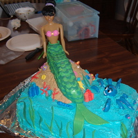 Mermaid Cake Made for a 3 year old who loves Mermaids.