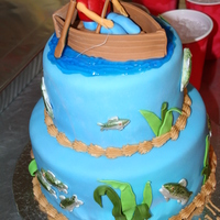 Fishing Birthday Cake For my nephew...fish are hand painted which I really liked! Thanks for looking!
