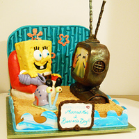 Spongebob Birthday Cake Made this cake for a clients 40th birthday party! Proves you're never too old to have a fun cake! Everything is edible. Tv is made of...