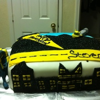 Batman Cake batman cake. easy to make. made out of fondant and black sugar crystals